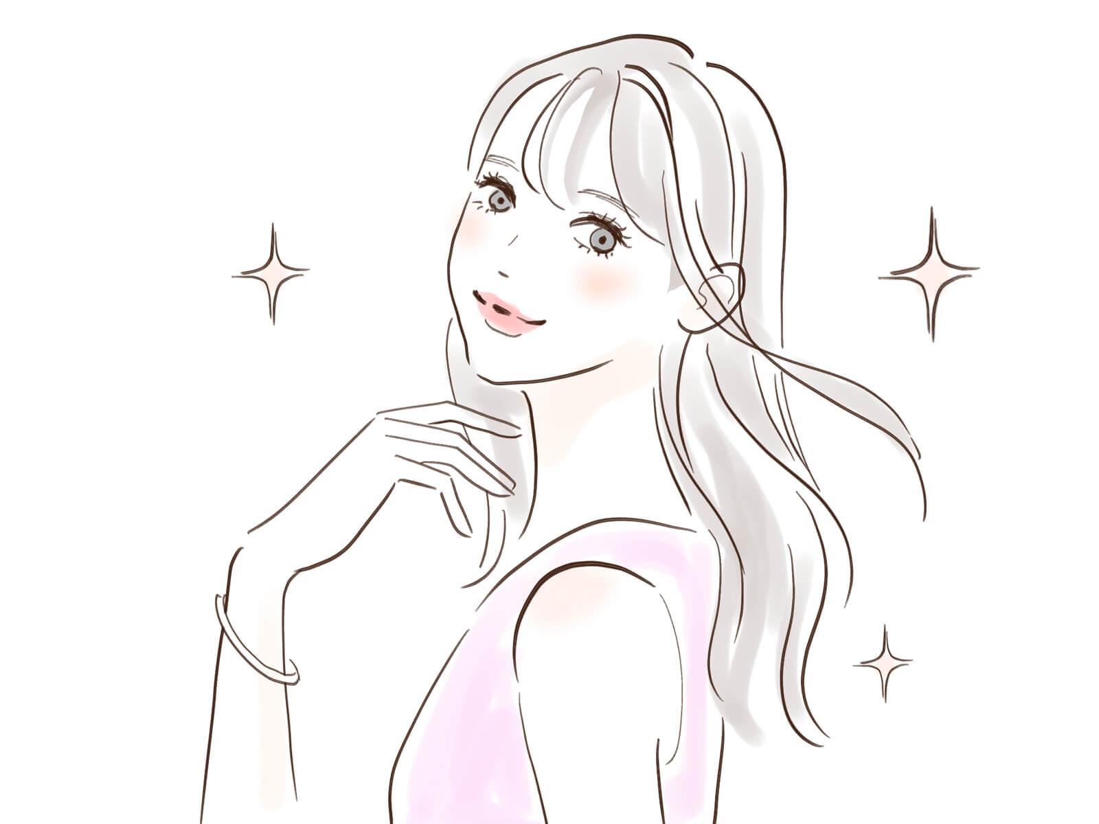 サラツヤ髪をなびかせる女性のイラスト