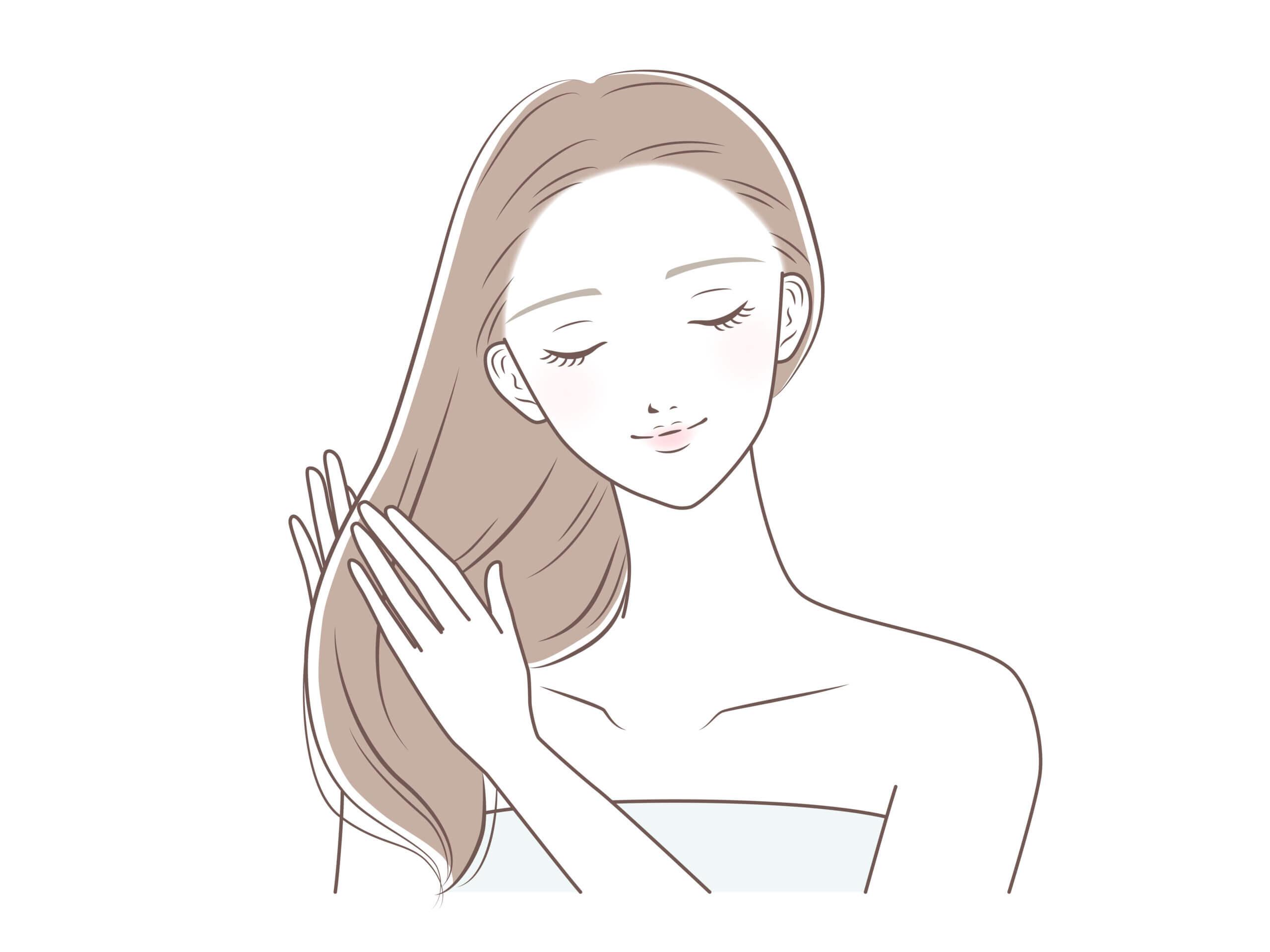 髪にトリートメントをつける女性のイラスト